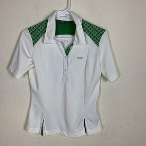 Oakley- Green & White Polo Shirt size small